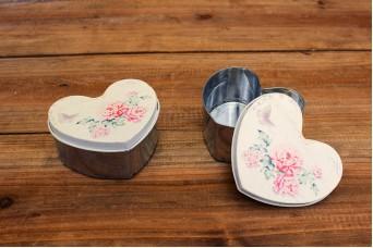 Tins Inox Καρδιά Floral Ροζ T0523P