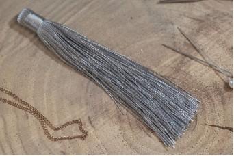 Φούντα Γυαλιστερή 12cm Γκρι TS-8116-10