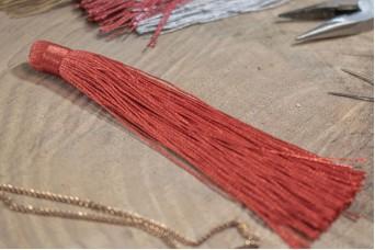 Φούντα Γυαλιστερή 12cm Κόκκινη TS-8116-23