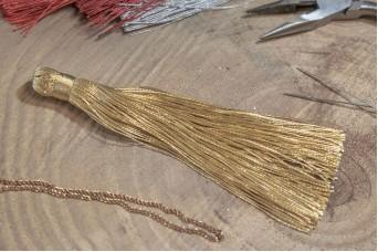 Φούντα Γυαλιστερή 12cm Χρυσή TS-8116-9