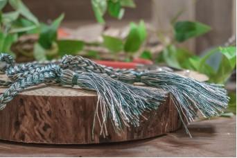 Φούντα Διπλή Γυαλιστερή με Κορδόνι Πλεξίδα 160cm Γκρι Πετρόλ TS-8240-55