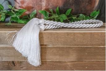 Φούντα Διπλή Γίγας με Κορδόνι Στριφτό 100cm Λευκή TS-8763-1