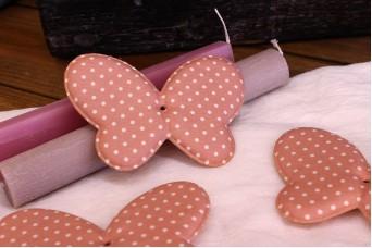 Υφασμάτινη Πεταλούδα Ροζ 12cm 5τεμ. UBF12-1310-1