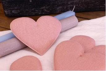 Υφασμάτινη Καρδιά Ροζ 12cm 5τεμ. UHR12-08458-4