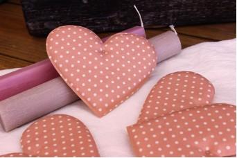 Υφασμάτινη Καρδιά Ροζ 12cm 5τεμ. UHR12-1310-1