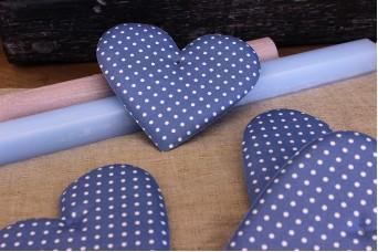 Υφασμάτινη Καρδιά Μπλέ Ρουά 12cm 5τεμ. UHR12-1310-5