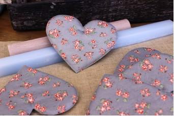 Υφασμάτινη Καρδιά Floral Ρομαντικό Γκρι 12cm 5τεμ. UHR12-9991-G