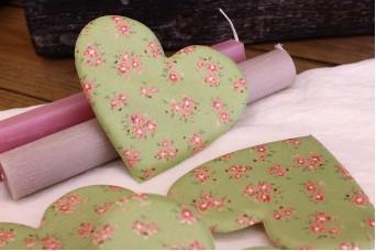 Υφασμάτινη Καρδιά Floral Ρομαντικό Πράσινο 12cm 5τεμ. UHR12-9992-LB