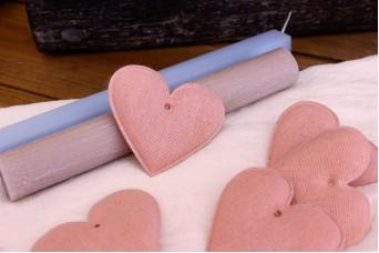 Υφασμάτινη Καρδιά Ροζ 8cm 10τεμ. UHR8-08458-4