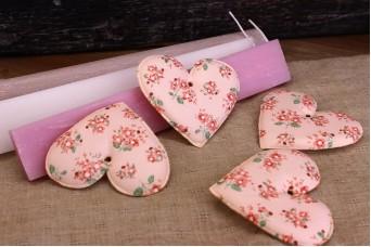 Υφασμάτινη Καρδιά Floral Ρομαντικό Ροζ 8cm 10τεμ. UHR8-9991-P
