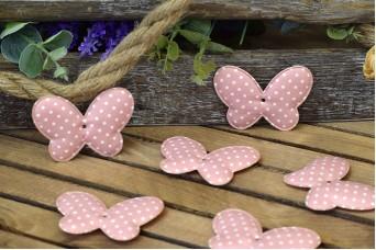 Υφασμάτινη Πεταλούδα 10τεμ Πουά Ροζ 8cm UBF8-1310-1