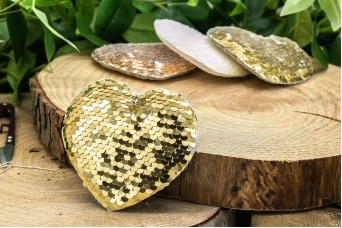 Υφασμάτινη Καρδία 5τεμ Παγιέτες Χρυσή UHR10-8856-3