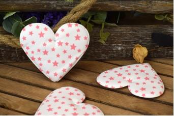 Υφασμάτινη Καρδιά 5τεμ Αστέρια Ροζ 12cm UHR12-101211-3