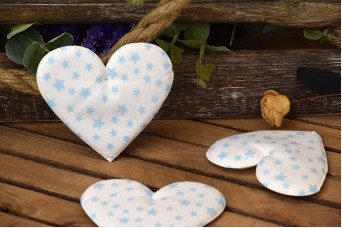 Υφασμάτινη Καρδιά 5τεμ Αστέρια Σιέλ 12cm UHR12-101211-4