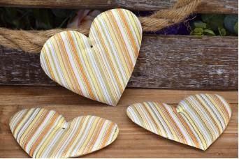 Υφασμάτινη Καρδιά 5τεμ Ριγέ Χρυσό 12cm UHR12-131719-1