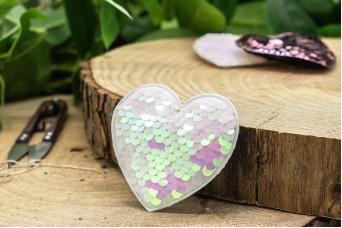 Υφασμάτινη Καρδιά 10τεμ Παγιέτες Λευκή Περλέ UHR6.5-5945-1
