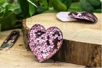 Υφασμάτινη Καρδιά 10τεμ Παγιέτες Σάπιο Μήλο UHR6.5-5945-2