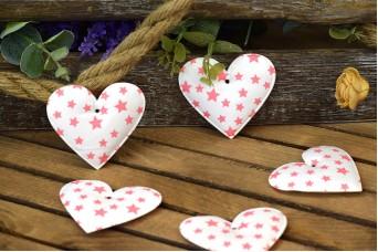 Υφασμάτινη Καρδιά 10τεμ Αστέρια Ροζ 8cm UHR8-101211-3