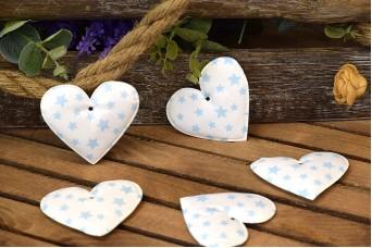 Υφασμάτινη Καρδιά 10τεμ Αστέρια Σιέλ 8cm UHR8-101211-4