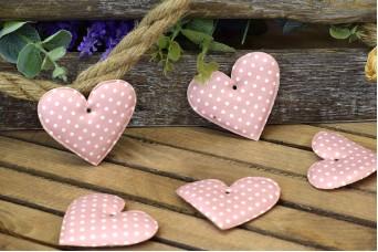 Υφασμάτινη Καρδιά 10τεμ Πουά Ροζ 8cm UHR8-1310-1