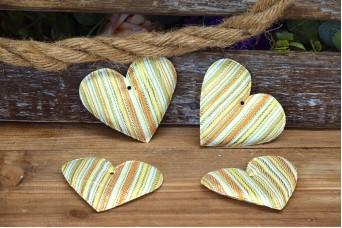 Υφασμάτινη Καρδιά 10τεμ Ριγέ Χρυσό 8cm UHR8-131719-1