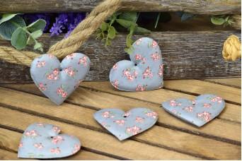 Υφασμάτινη Καρδιά 10τεμ Floral Ρομαντικό Γκρι 8cm UHR8-9991-G