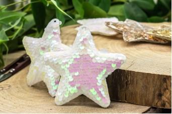 Υφασμάτινο Αστέρι 5τεμ Παγιέτες Λευκό Περλέ UST10-8856-4