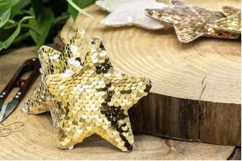 Υφασμάτινο Αστέρι 5τεμ Παγιέτες Χρυσό UST10-8856-5