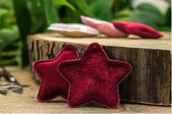 Υφασμάτινο Αστέρι 10τεμ Βελούδο Μπορντώ UST5-5947-3