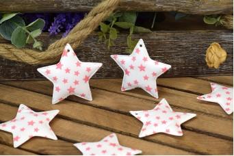 Υφασμάτινο Αστέρι 10τεμ Αστέρια Ροζ 8cm UST8-101211-3