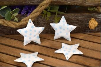 Υφασμάτινο Αστέρι 10τεμ Αστέρια Σιέλ 8cm UST8-101211-4