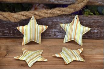 Υφασμάτινο Αστέρι 10τεμ Ριγέ Χρυσό 8cm UST8-131719-1