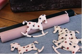 Υφασμάτινο Αλογάκι Αστεράκια 8cm 10τεμ. URH8-132510-1