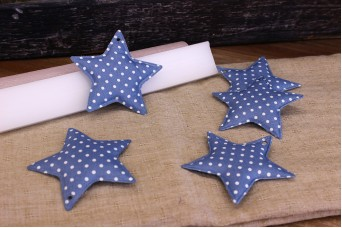 Υφασμάτινο Αστέρι 10τεμ Πουά Μπλε Ρουά 8cm UST8-1310-5