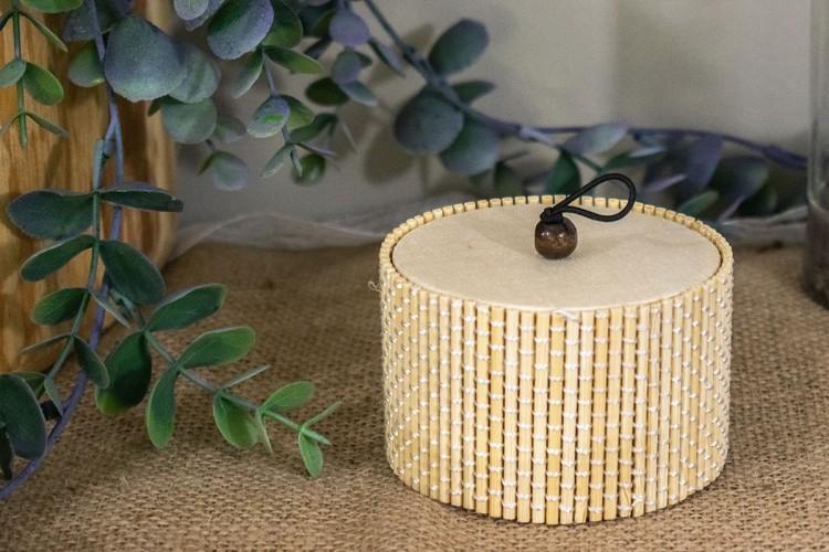 Κυλινδρικό Κουτί Bamboo 8x5cm WI-4662