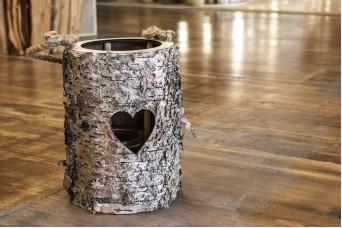 Φανάρι Στρογγυλό Ξύλο Καρδιά Εσωτερικό Γυαλί WI0621