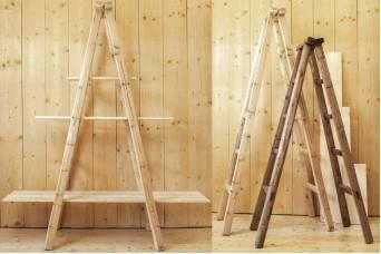 Σκάλα Διπλή 180cm Καφέ WI9483-180-2BR