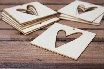 Ξύλινο Καρτελάκι Καρδιά 10τεμ. WI4550