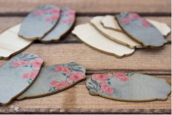 Ξύλινο Καρτελάκι Vintage Floral 10τεμ. WI4585RS
