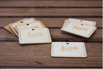 """Ξύλινο Καρτελάκι """"Love"""" 10τεμ. WI4607"""