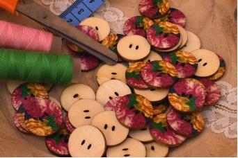 Ξύλινα Κουμπιά Vintage Floral WI4613-1