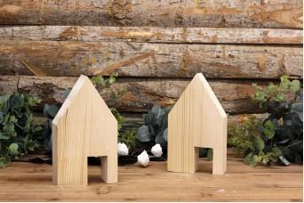 Ξύλινα Σπιτάκια με Πόρτα 20cm WIW900-D451120-N