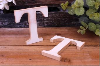 """Γράμμα Ξύλινο """"T"""" Λευκό"""