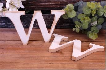 """Γράμμα Ξύλινο """"W"""" Λευκό"""