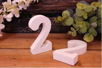 """Αριθμός Ξύλινος """"2"""" Λευκός"""