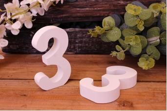 """Αριθμός Ξύλινος """"3"""" Λευκός"""
