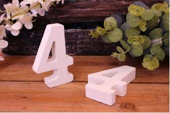 """Αριθμός Ξύλινος """"4"""" Λευκός"""
