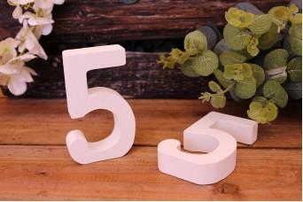 """Αριθμός Ξύλινος """"5"""" Λευκός"""