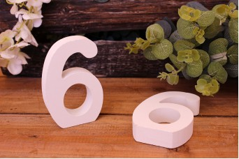 """Αριθμός Ξύλινος """"6"""" Λευκός"""