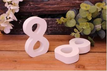 """Αριθμός Ξύλινος """"8"""" Λευκός"""